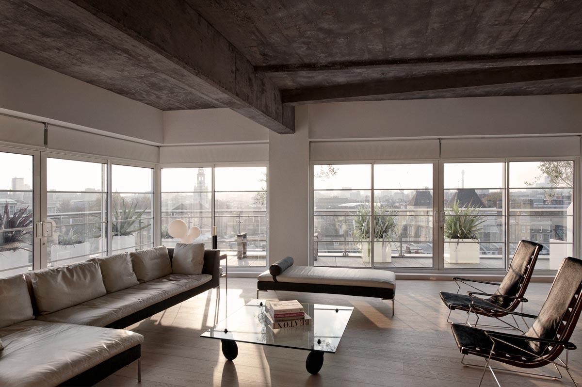 Interior of London loft apartment horizontal house