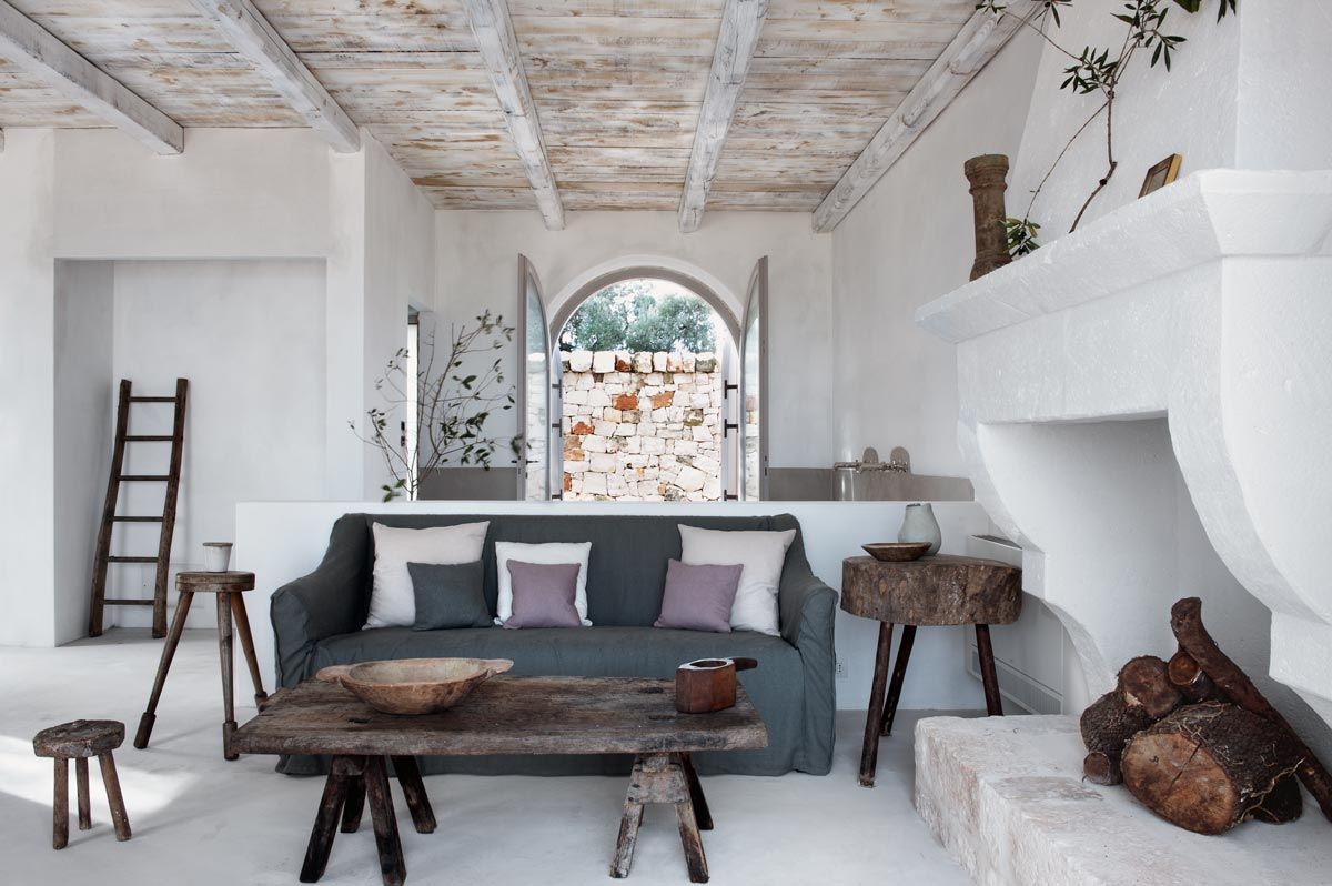 Living room interior, Puglia Italy