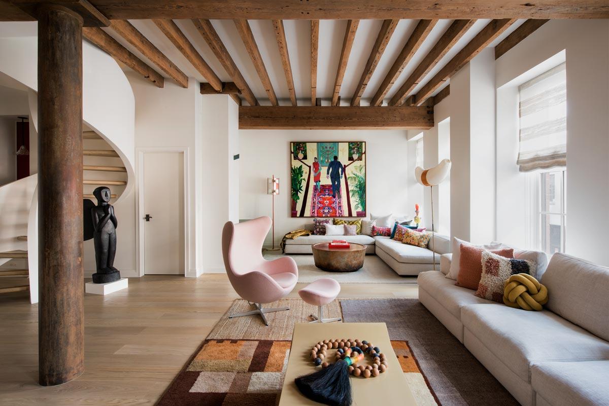 Interior west village loft living room