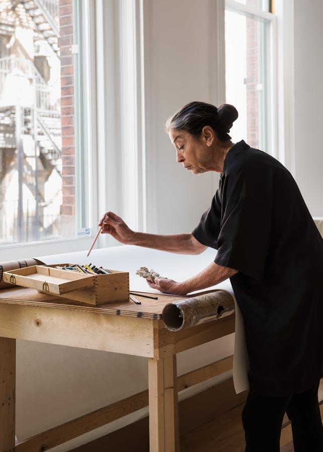 Portrait of artist Michele Oka Doner at her Soho New York loft studio
