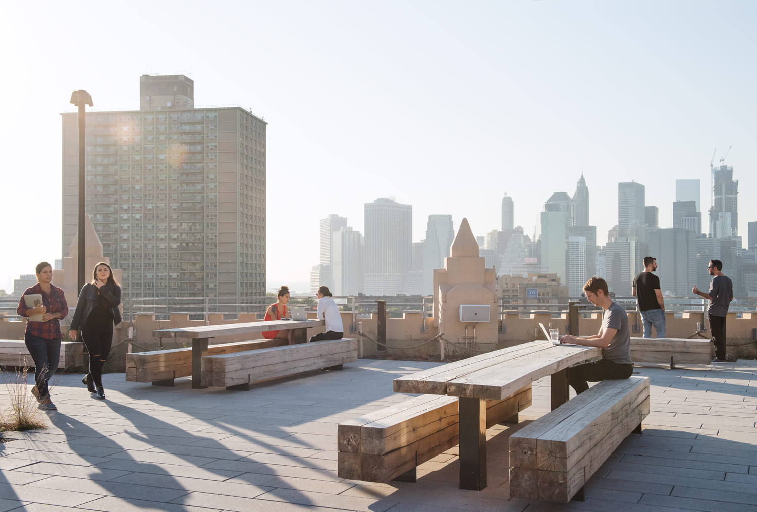 rooftop co working at Etsy headquarters, Brooklyn