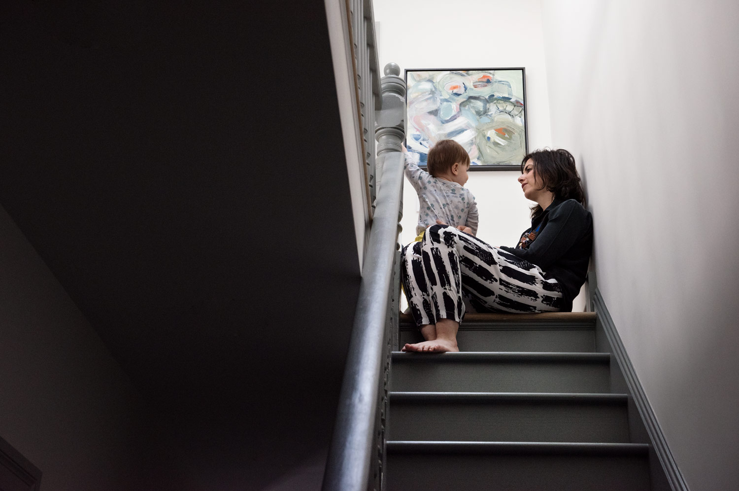 mother and child on stairs